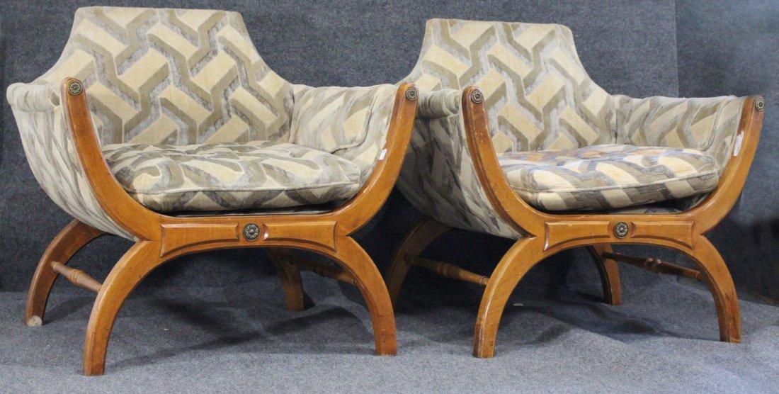 Pair PHYLLIS MORRIS Designed 1960 Regency THRONE CHAIRS