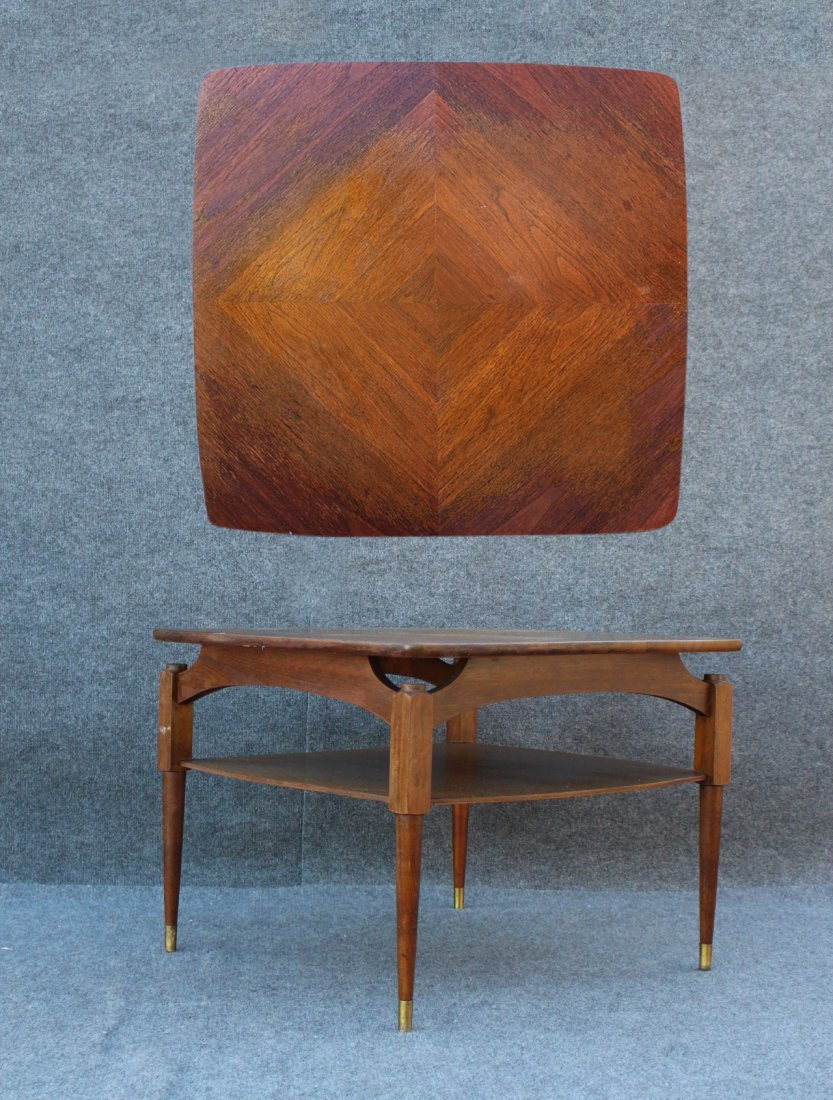 Mid-Century Danish Occasional Table Geometric Inlay Top