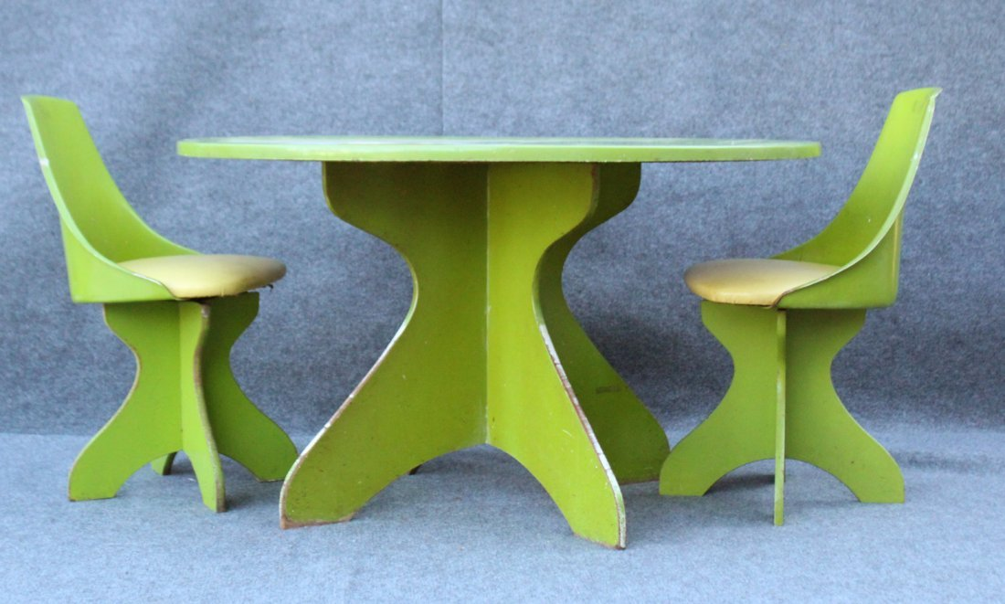 Circa 1960s GROOVY BREAKFAST TABLE and Two Chairs