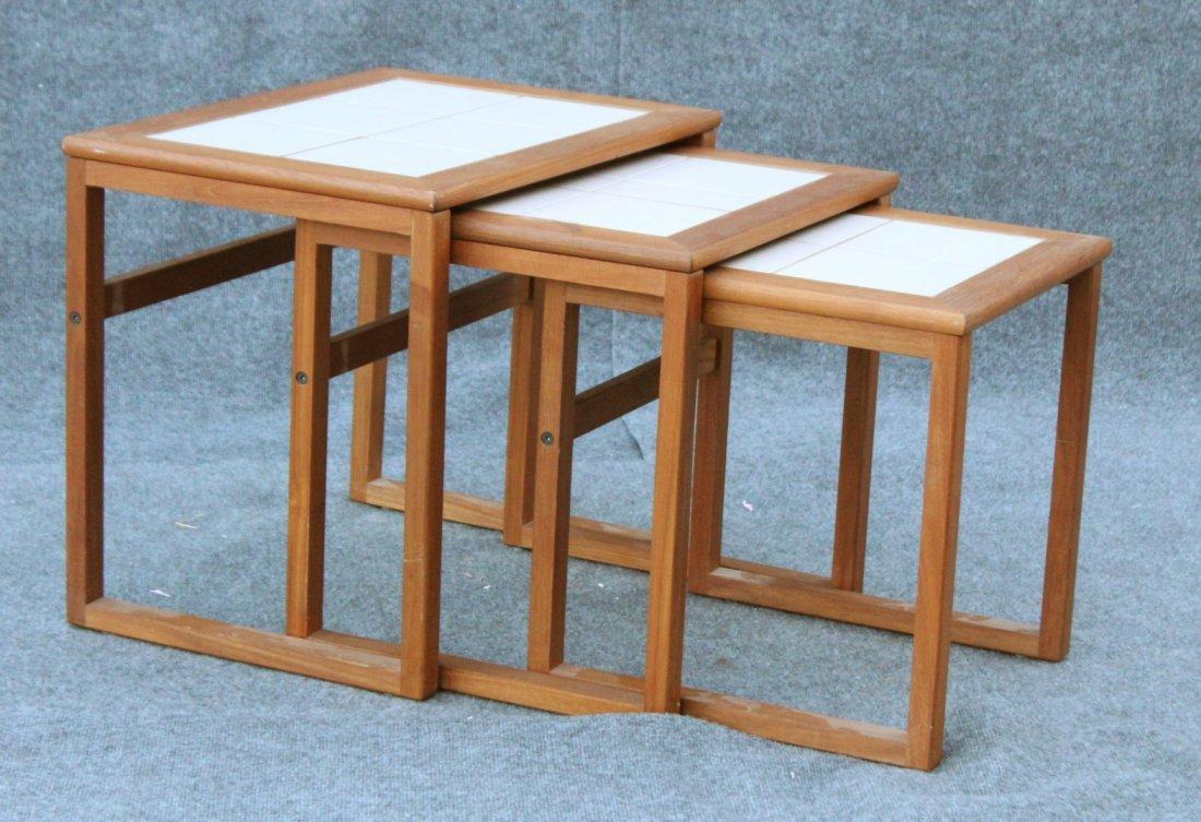 DANISH MODERN Teak Wood Nest 3 Tables Tile Tops