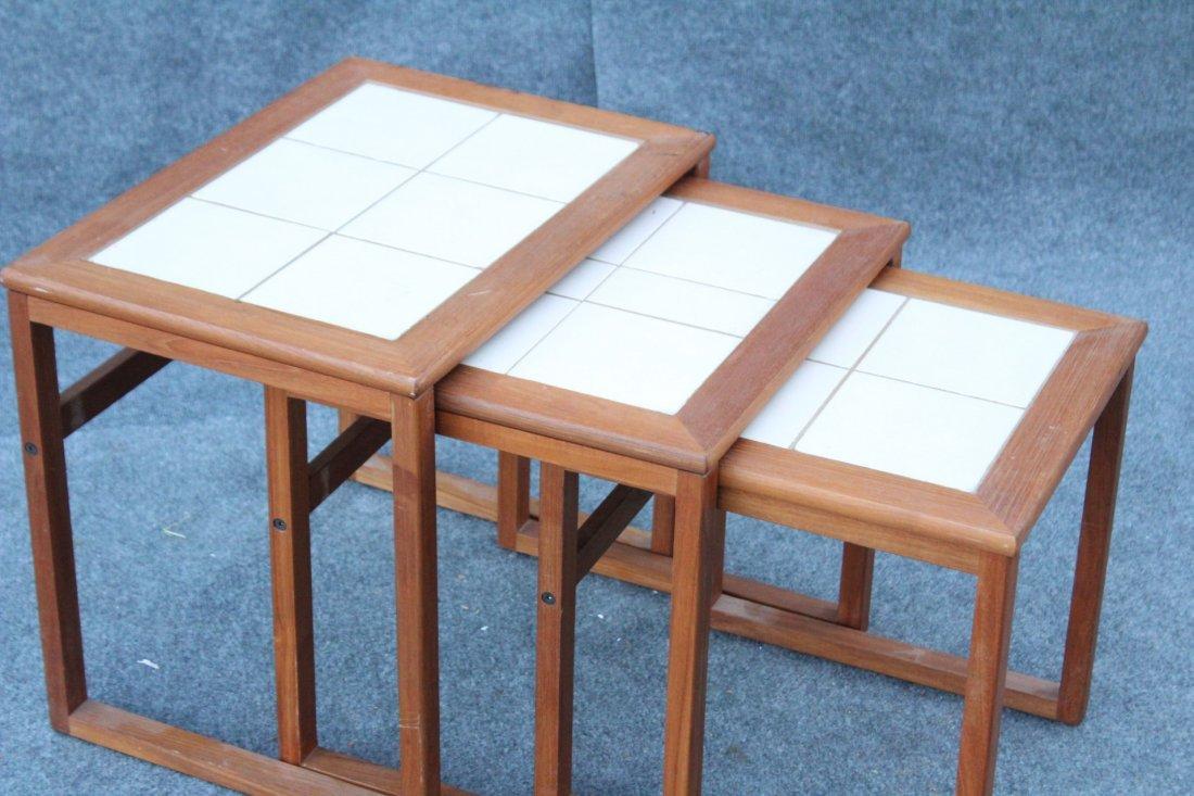 DANISH MODERN Teak Wood Nest 3 Tables Tile Tops - 2