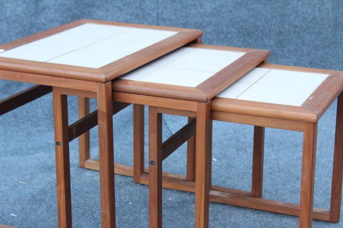 DANISH MODERN Teak Wood Nest 3 Tables Tile Tops - 3