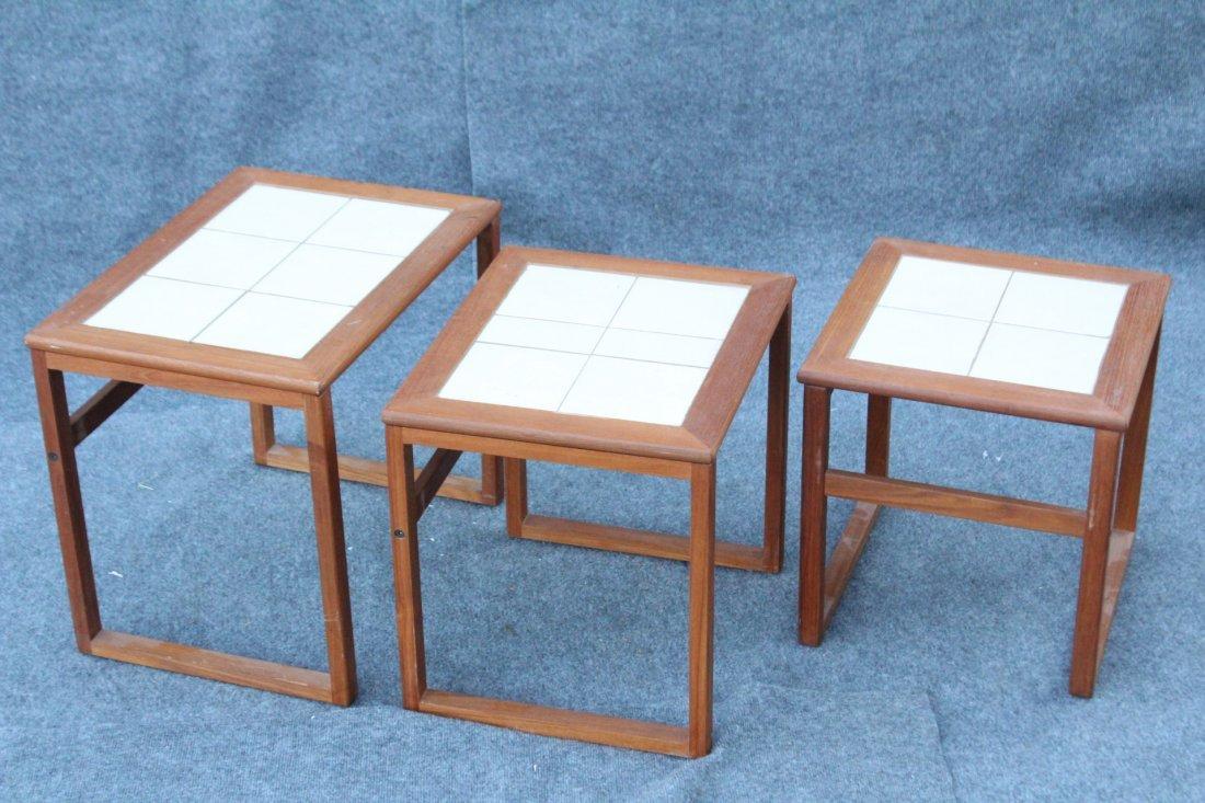 DANISH MODERN Teak Wood Nest 3 Tables Tile Tops - 4