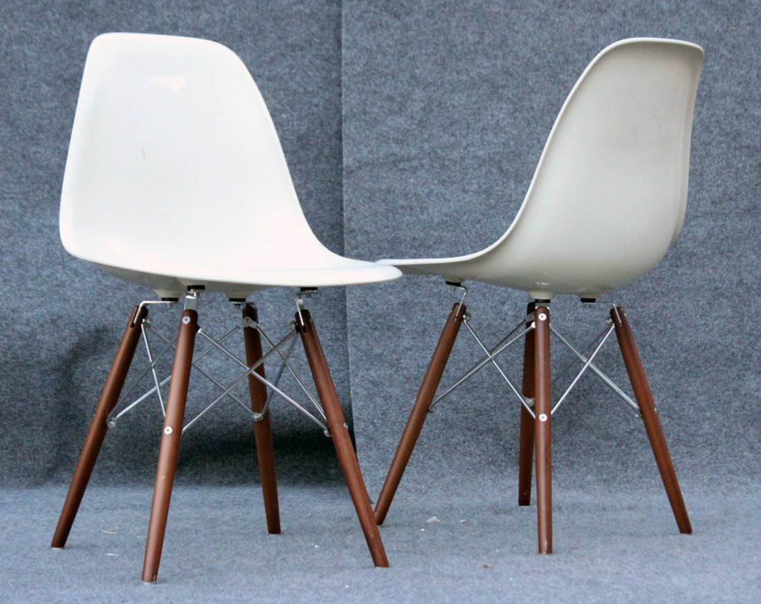Pair Eames Style Eiffel Tower Base Chairs, Later