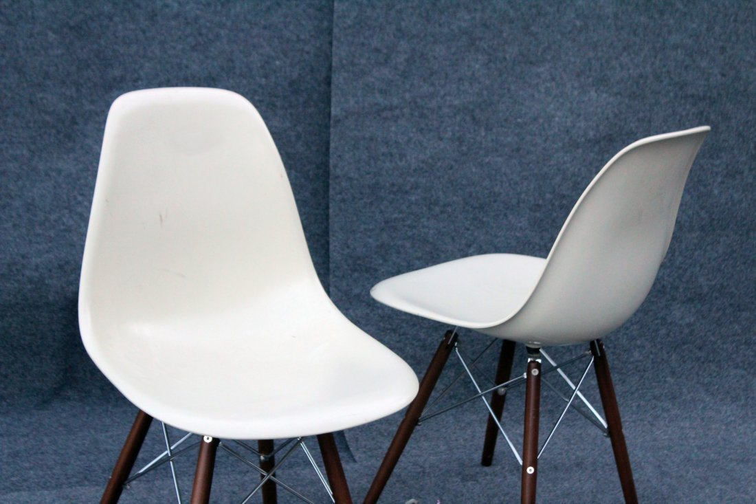 Pair Eames Style Eiffel Tower Base Chairs, Later - 2
