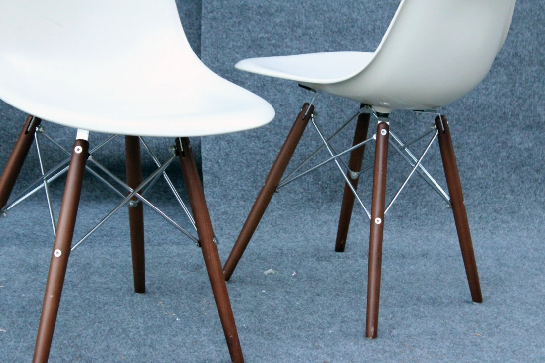Pair Eames Style Eiffel Tower Base Chairs, Later - 3