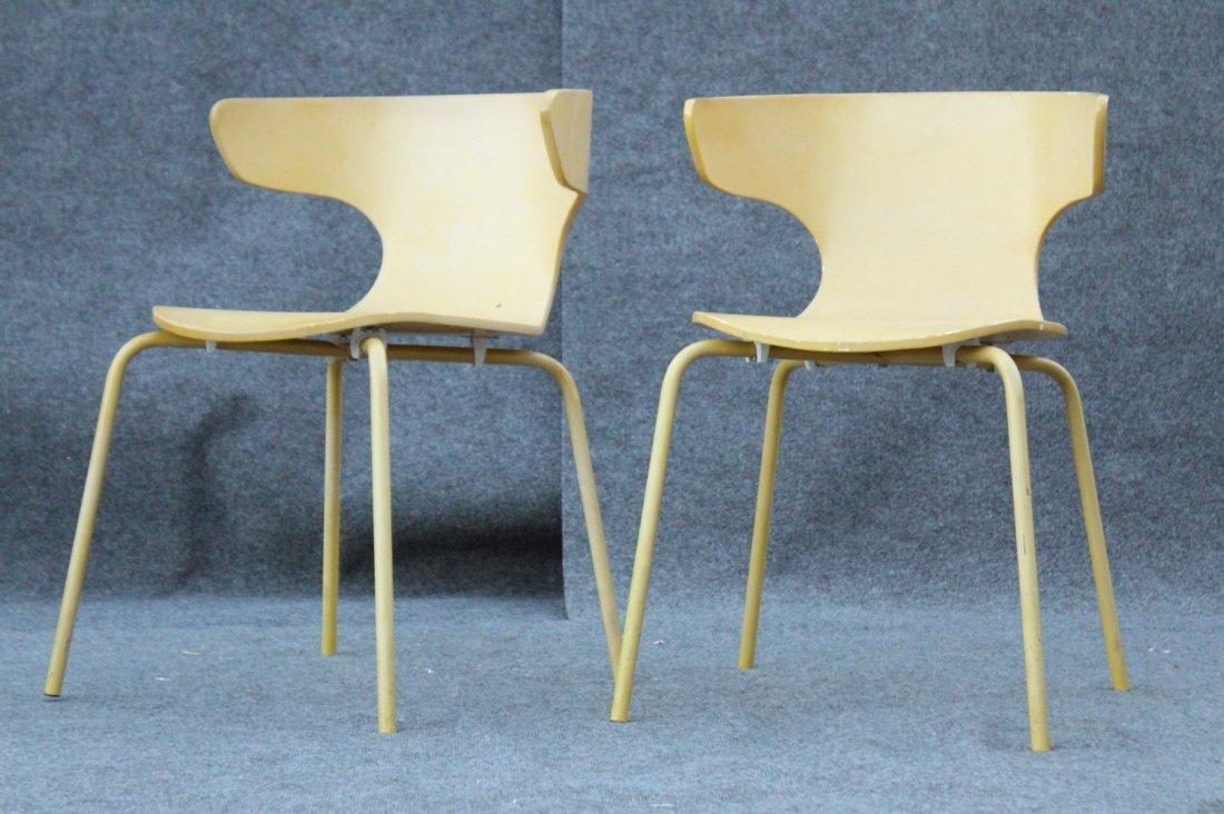 Pair Mid-Century Design Unusual Wrap Around Ply Chairs