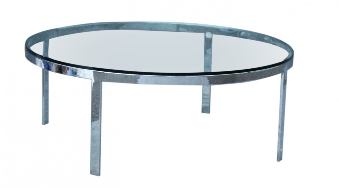 MILO BAUGHMAN Round Chrome Flat Bar ,Glass Coffee Table