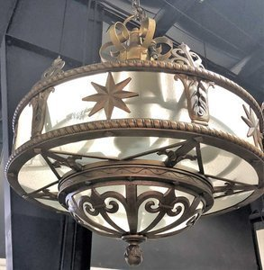 Large 1930s THEATRE CHANDELIER Metal And Glass