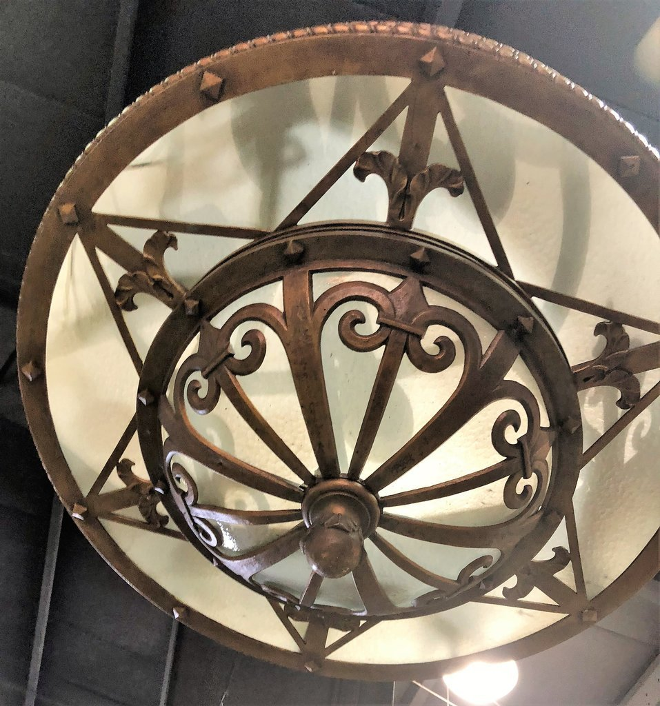 Large 1930s THEATRE CHANDELIER Metal And Glass - 4