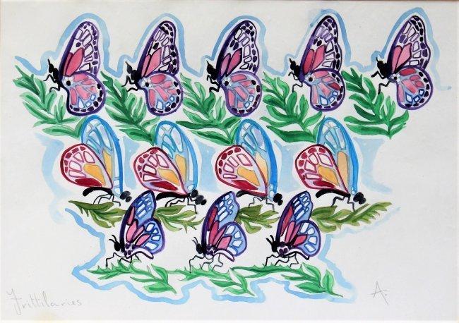 WALTER INGLIS ANDERSON 1903-1964 Butterflies Watercolor - 2