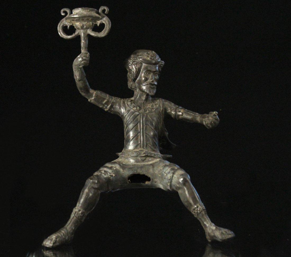 Bronze Figure Man With Beard Holding A Torch