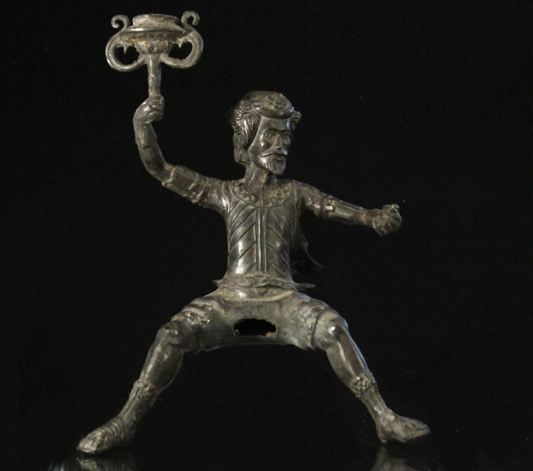Bronze Figure Man With Beard Holding A Torch
