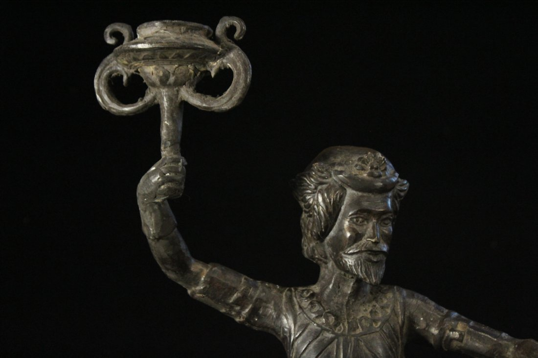 Bronze Figure Man With Beard Holding A Torch - 2