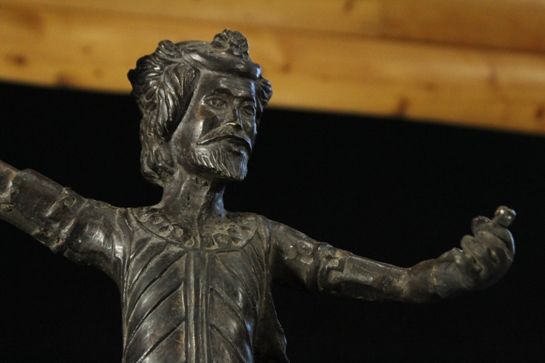 Bronze Figure Man With Beard Holding A Torch - 3