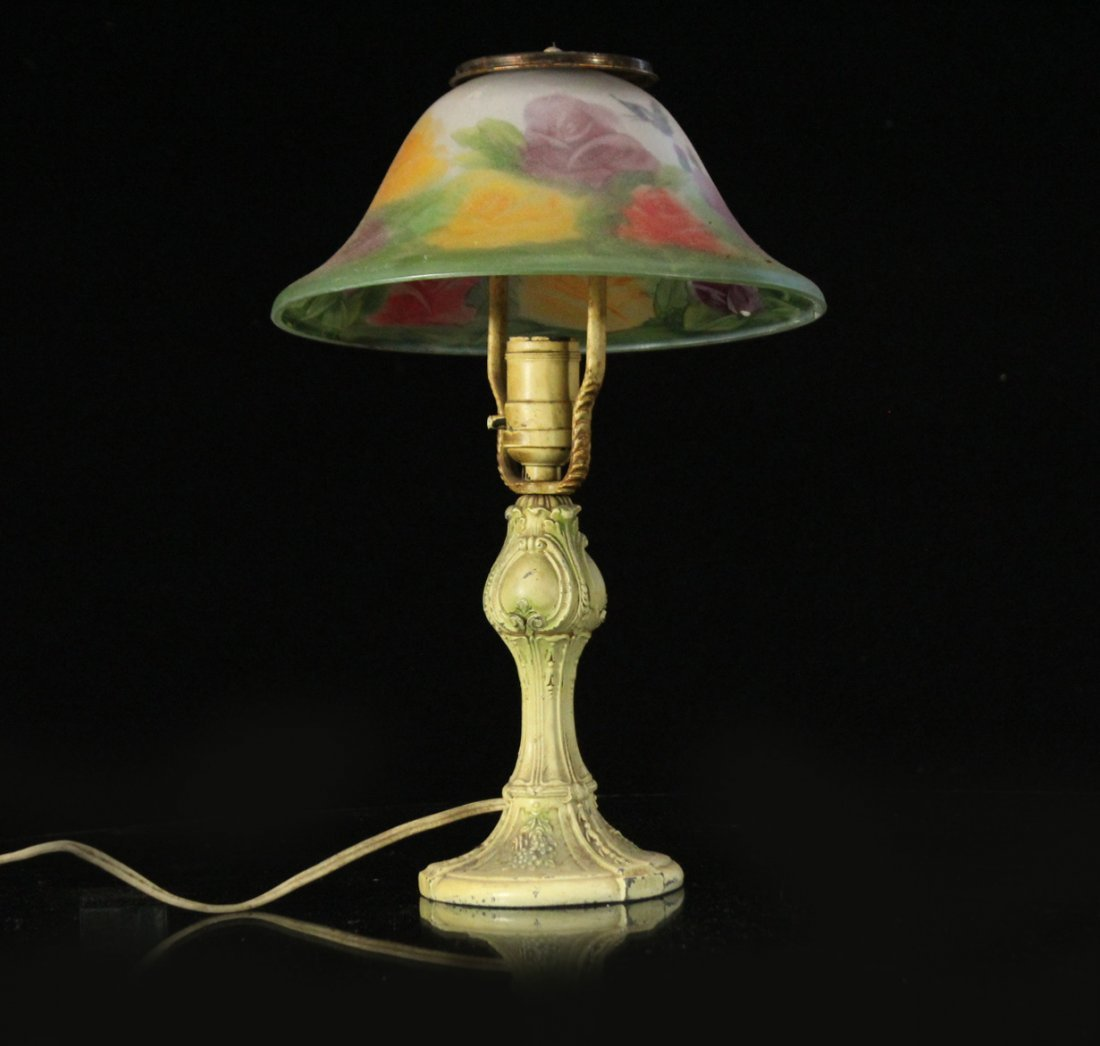 FLORAL REVERSE PAINTED Glass Shade Boudoir Lamp