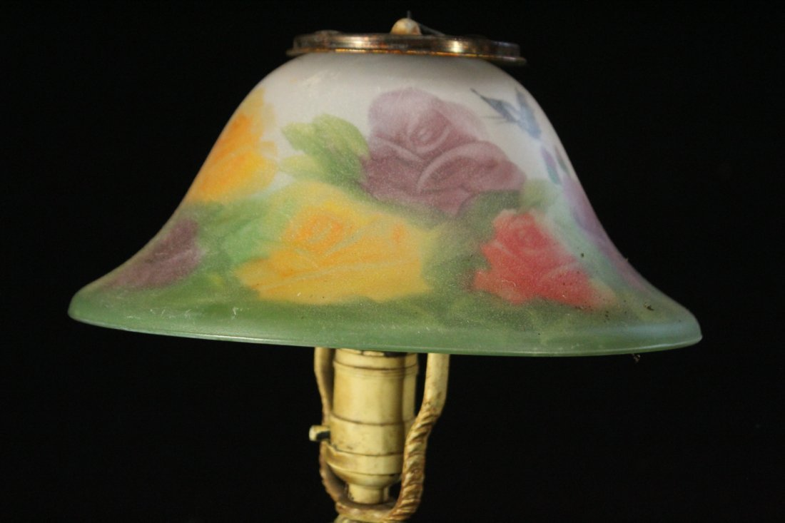 FLORAL REVERSE PAINTED Glass Shade Boudoir Lamp - 4