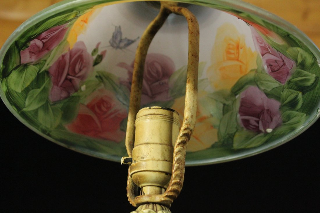 FLORAL REVERSE PAINTED Glass Shade Boudoir Lamp - 5