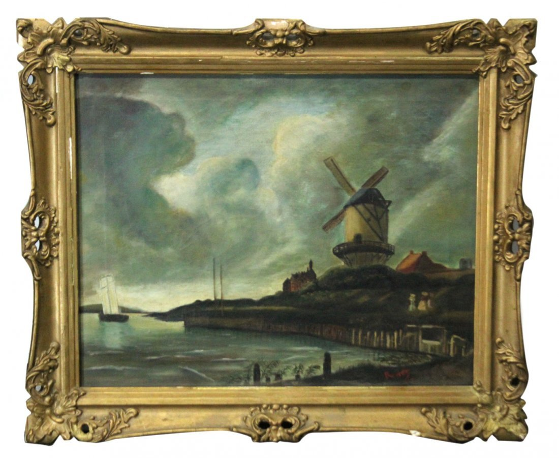 RENEE, Circa 1910 Dutch Oil/c Windmill Scene