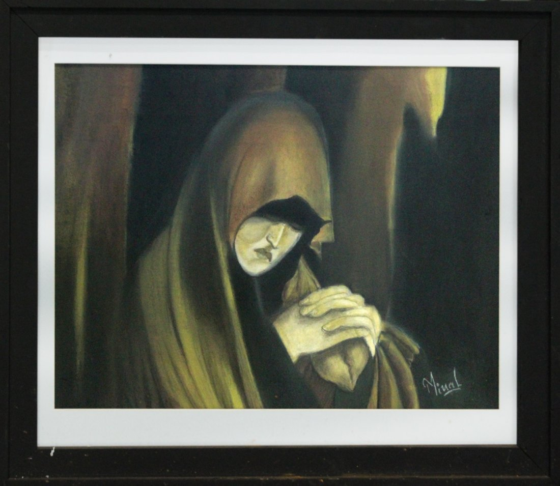 MINAL JESWANI, Calif Artist Oil/B Monk Looking Downward