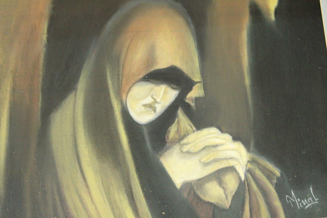 MINAL JESWANI, Calif Artist Oil/B Monk Looking Downward - 3