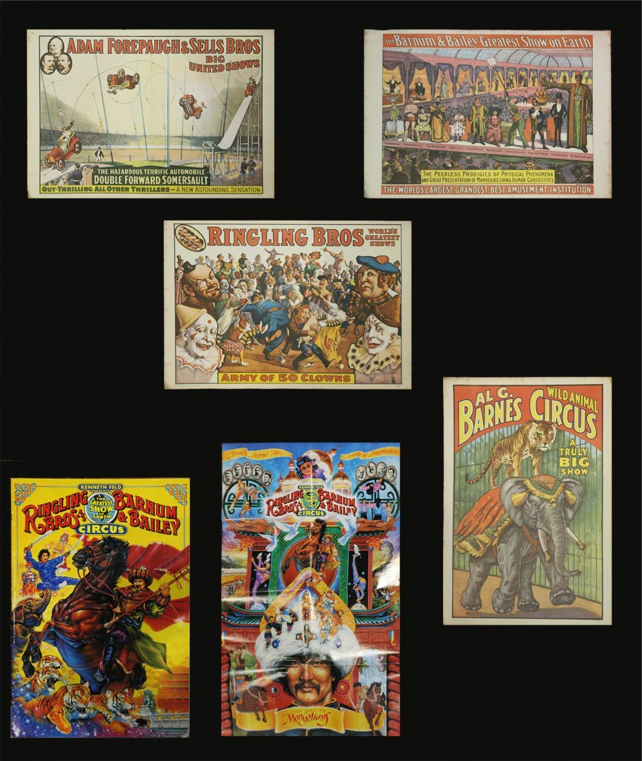 Six [6] Assorted Circus Posters Ringling Barnum Program