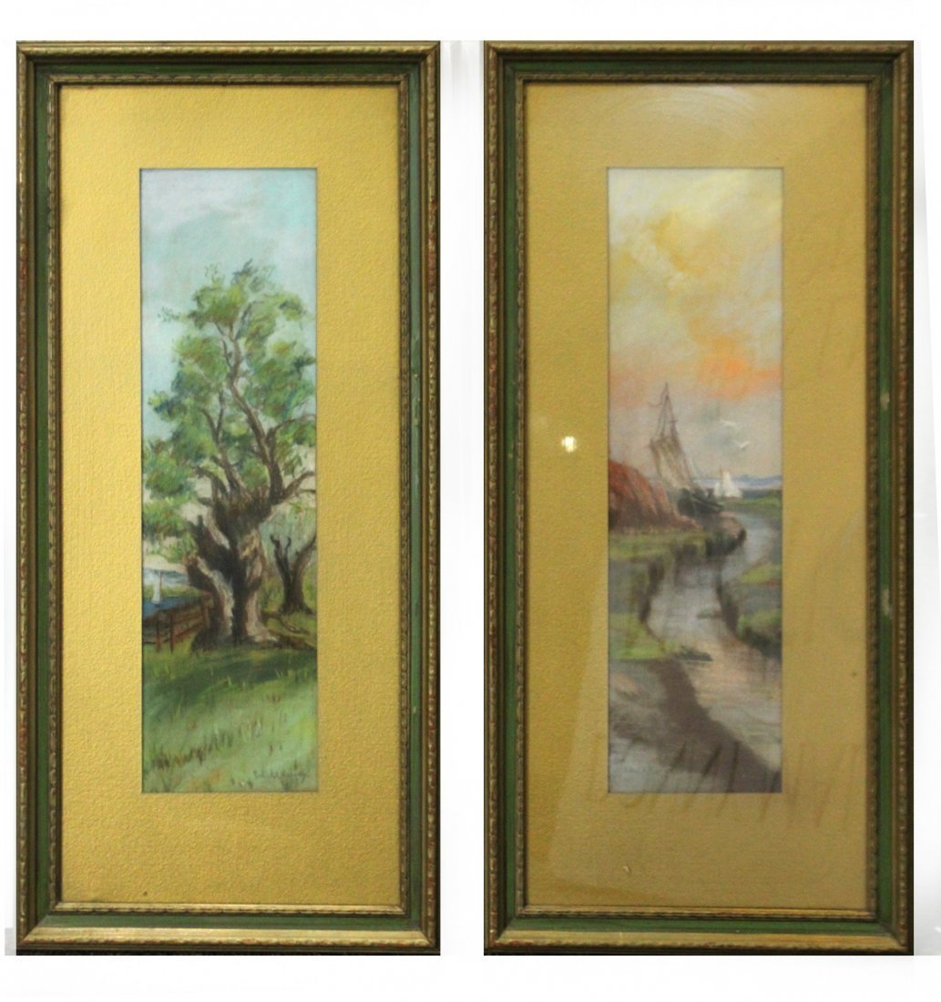 EDWARD A HARVEY ; Two [2] Pastel Paintings Ship, Tree