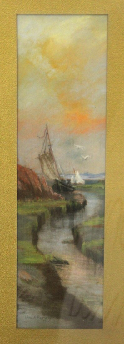 EDWARD A HARVEY ; Two [2] Pastel Paintings Ship, Tree - 3