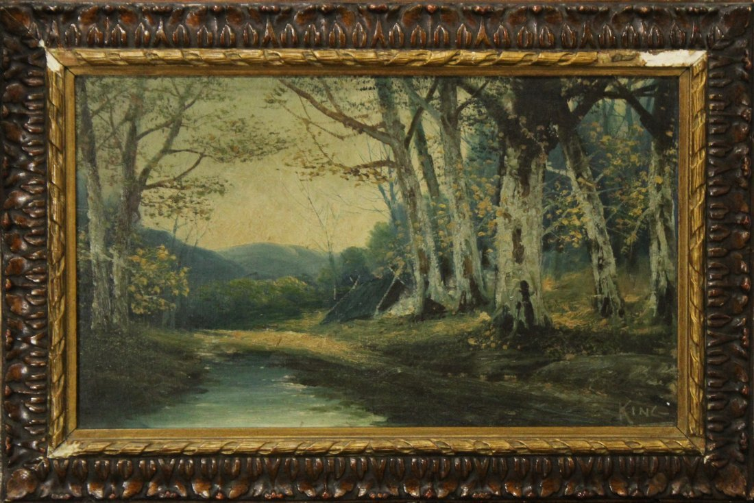 KING, 19th C. Oil/C Landscape Trees and Stream