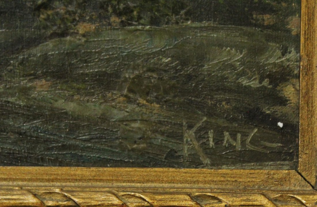 KING, 19th C. Oil/C Landscape Trees and Stream - 2