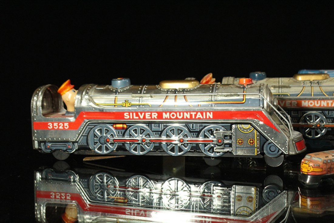 Assorted Tin Train Grouping, Silver Mountain - 2