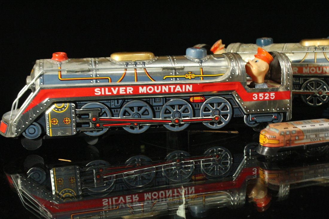 Assorted Tin Train Grouping, Silver Mountain - 3