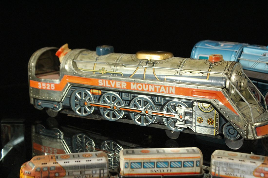 Assorted Tin Train Grouping, Silver Mountain - 4