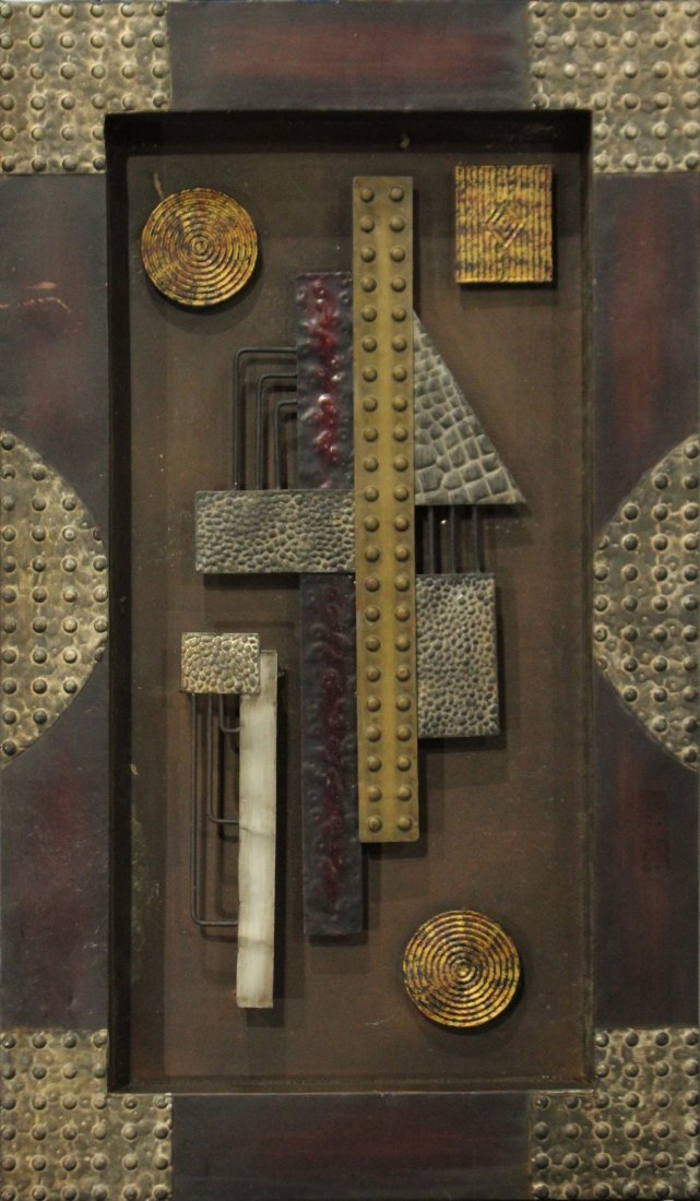 Mid-Century Mod Design Metal Wall Assemblage Sculpture