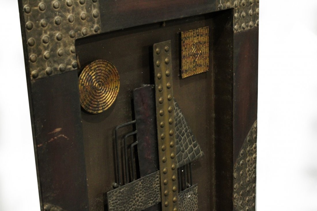 Mid-Century Mod Design Metal Wall Assemblage Sculpture - 2