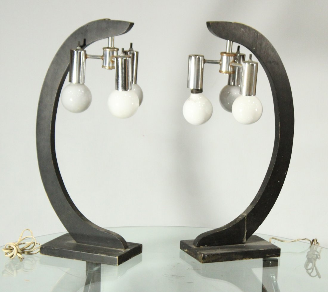 Pair Mid-Century Modern 3-Light Chrome & Wood Lamps
