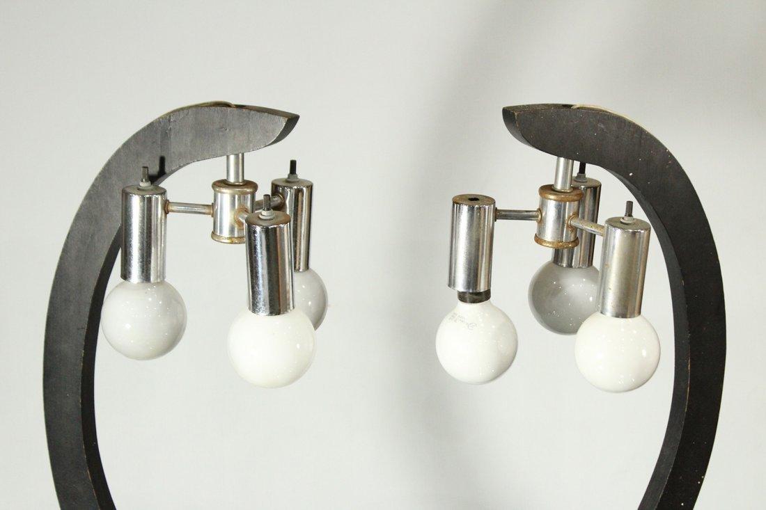 Pair Mid-Century Modern 3-Light Chrome & Wood Lamps - 2