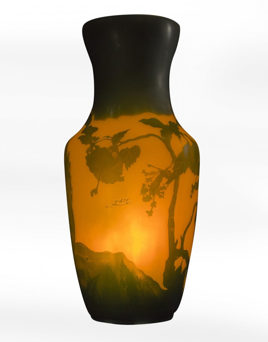 GALLE 3-Color Cameo Art Glass Vase, 19 in. height