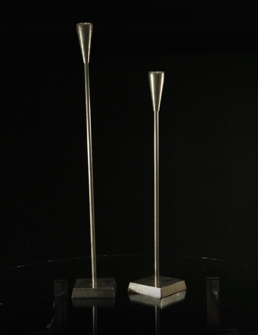 MODERN DESIGN TALL CANDLESTICKS Two [2] Graduated Size