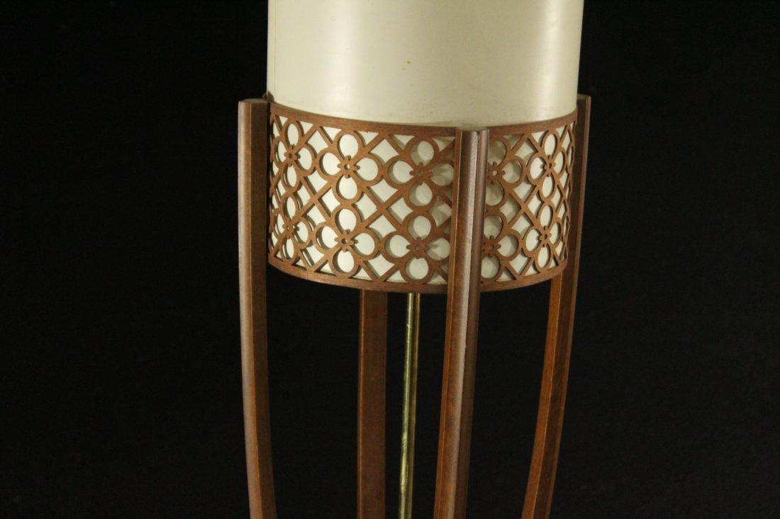 Mid-Century Modern Teak Cylindrical Table Lamp - 2