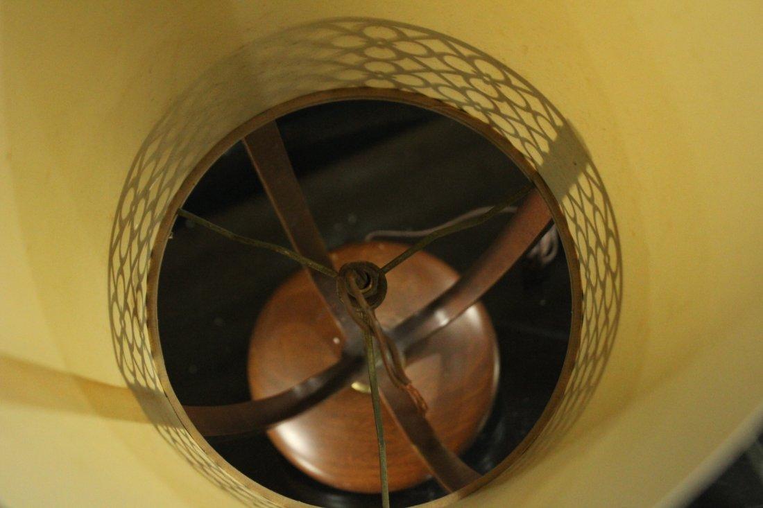 Mid-Century Modern Teak Cylindrical Table Lamp - 5