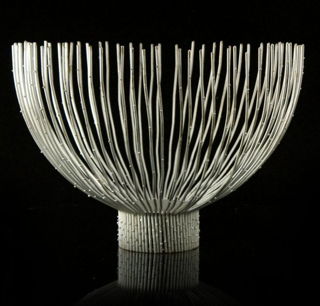 Bertoia Attributed, Mid-Century Modern Large Wire Bowl.