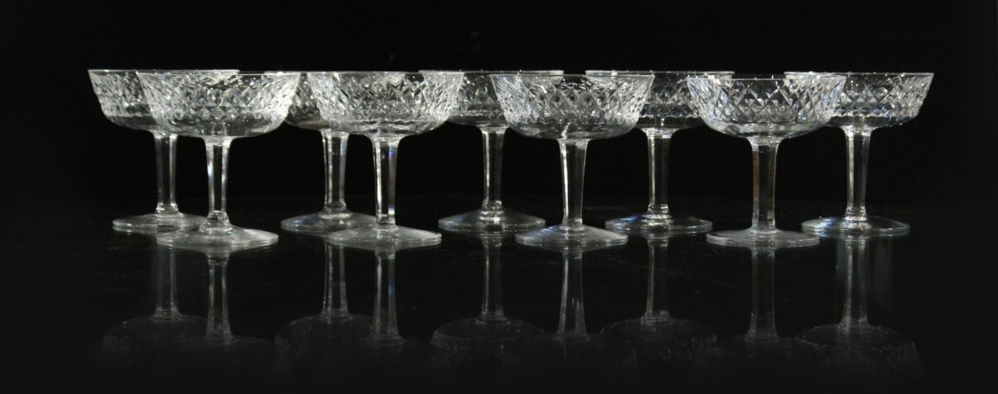 WATERFORD Signed Nine [9] Cut Crystal Glass Stemware