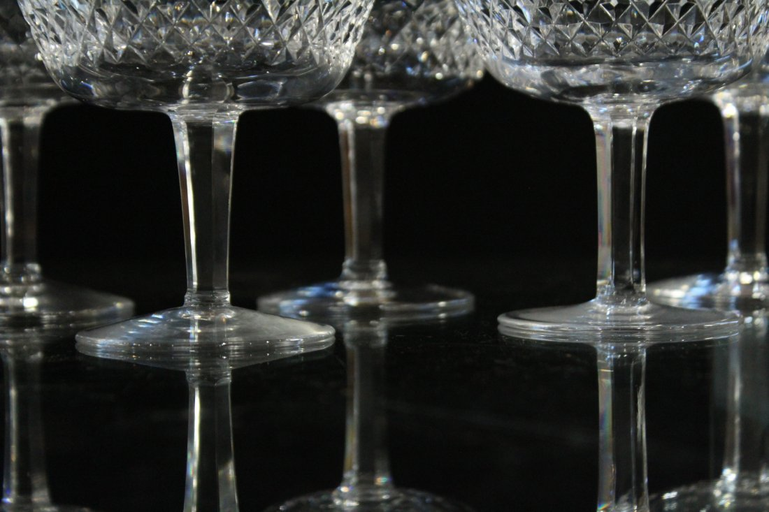 WATERFORD Signed Nine [9] Cut Crystal Glass Stemware - 2