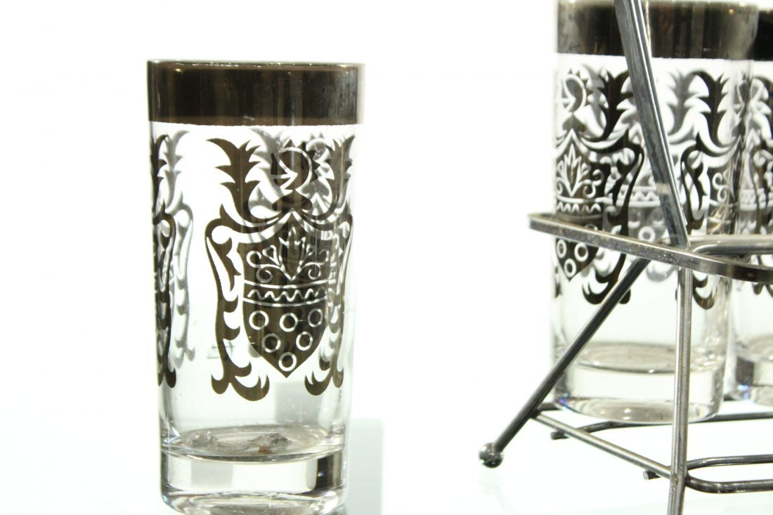 SILVER OVERLAY Set 8 Shield Design Glass in Caddy - 2