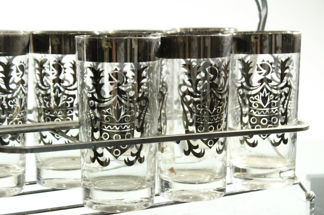 SILVER OVERLAY Set 8 Shield Design Glass in Caddy - 3