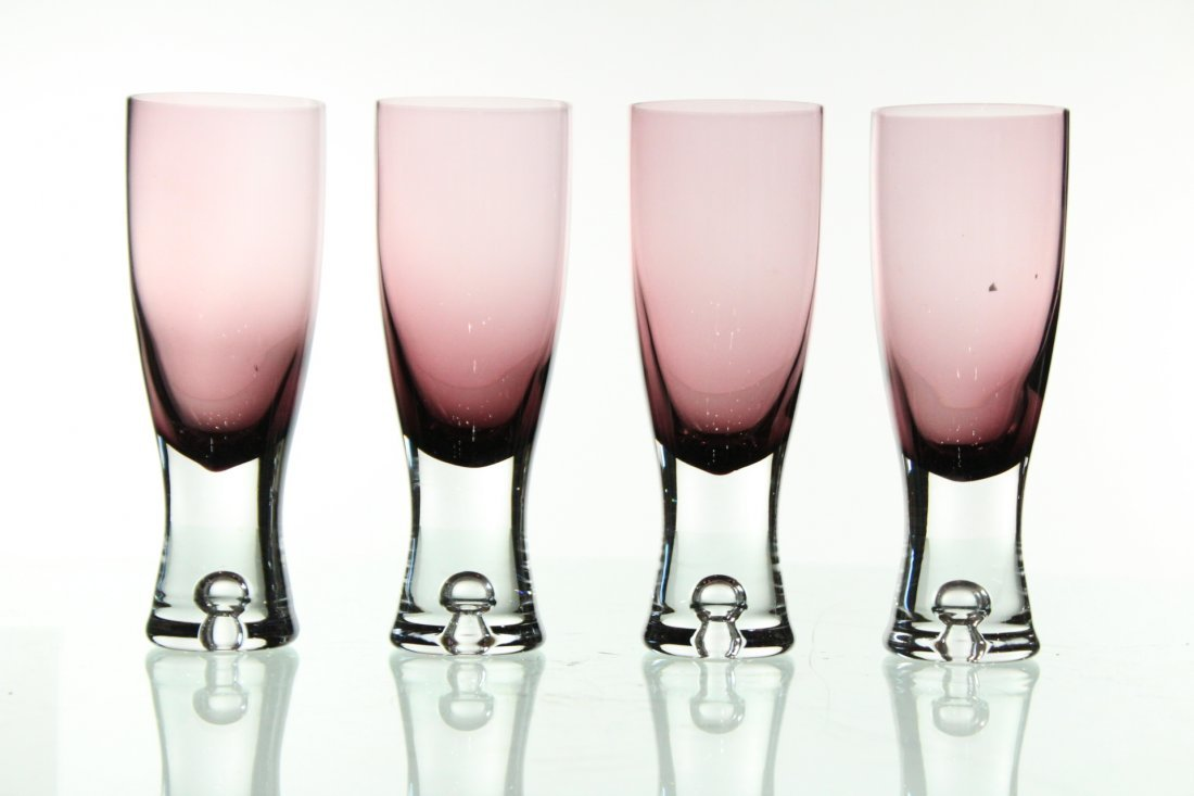 Four [4] Unusual Lavendar To Clear Drinking Glasses