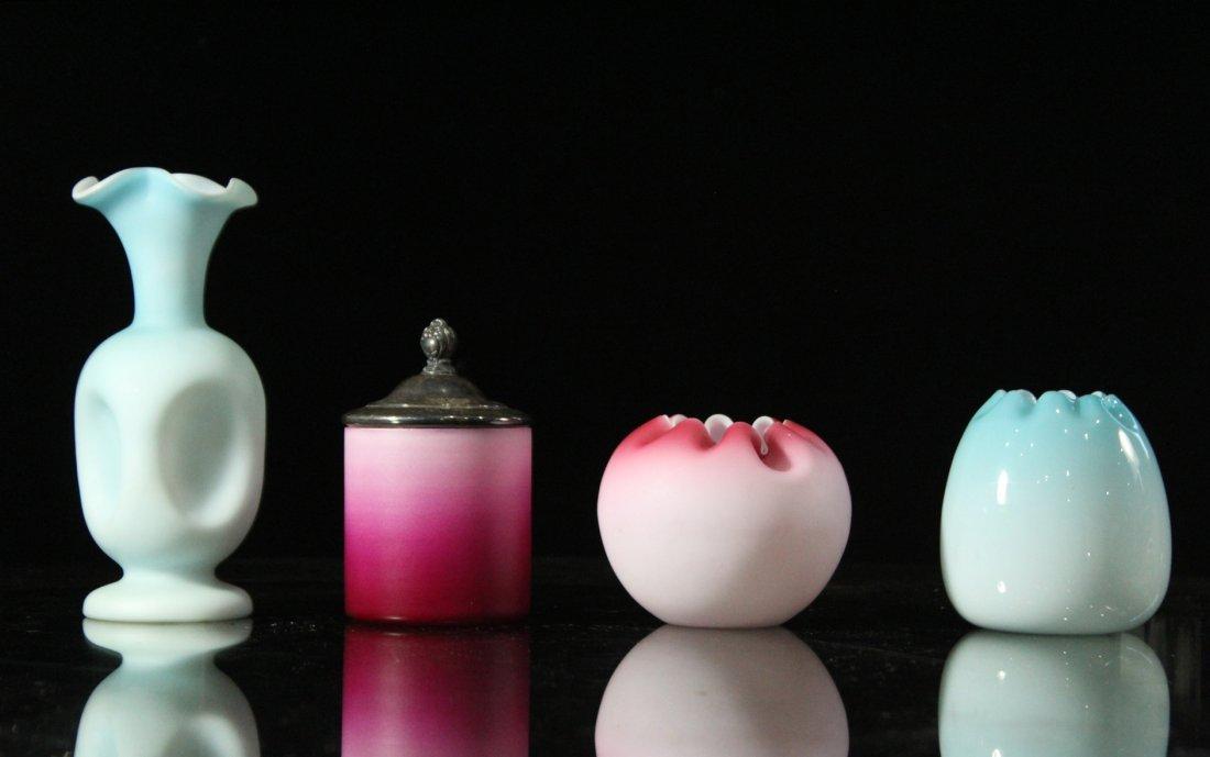 Four [4] Assorted MOUNT WASHINGTON GLASS Vases, Jar