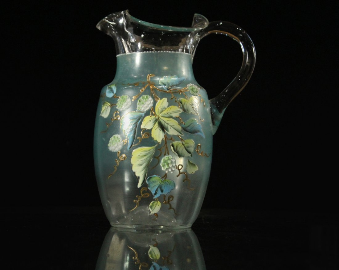Victorian Water Pitcher With Enameled Berries & Leaves