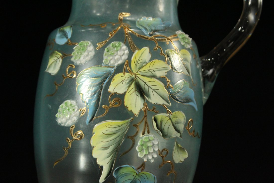Victorian Water Pitcher With Enameled Berries & Leaves - 2